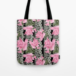 Gentle roses on a lace background. Tote Bag