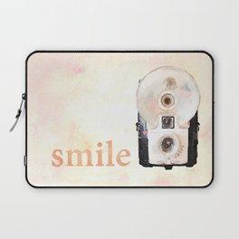 Retro Watercolor Camera SMILE! Laptop Sleeve