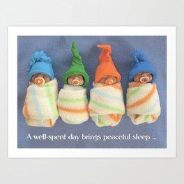 Clay Babies, Polymer Clay, Saying About Peaceful Sleep Art Print