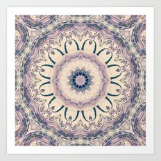 Rue des Glycines -- Vintage Cream and Lavender Purple Mandala Art Print