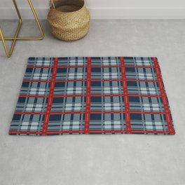 Red Line White And Blue Lumberjack Flannel Pattern Rug