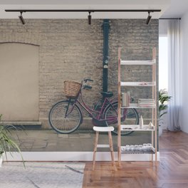 maroon bicycle in Cambridge print Wall Mural