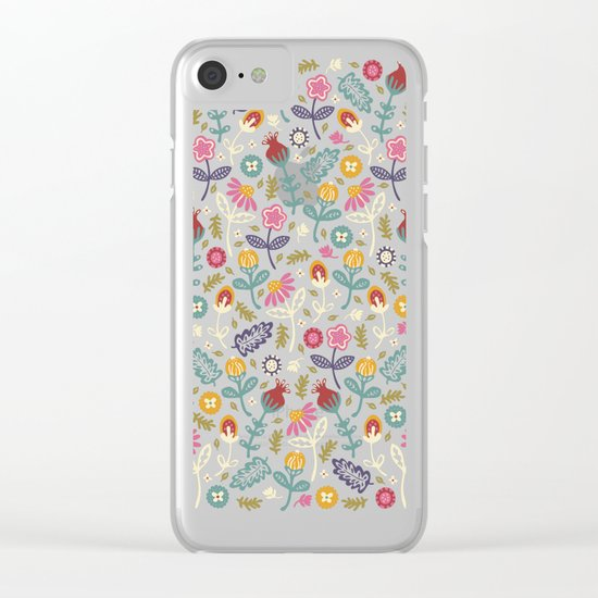 Ditsy Flowers Clear iPhone Case