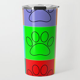 Puppy Paws In Squares Travel Mug