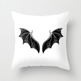 Black Dragon Wings Throw Pillow
