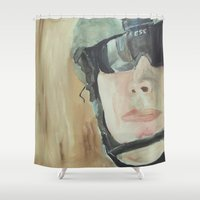 soldier Shower Curtains featuring soldier 1 by Jacob Hilliard