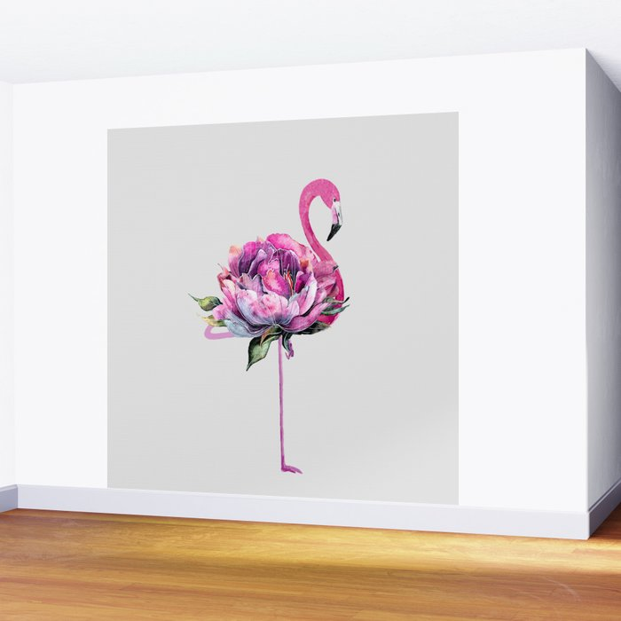 Flower Flamingo Wall Mural