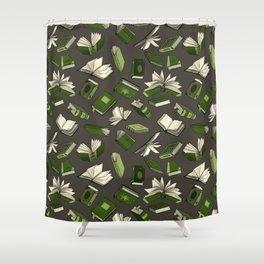 Spellbooks, green Shower Curtain