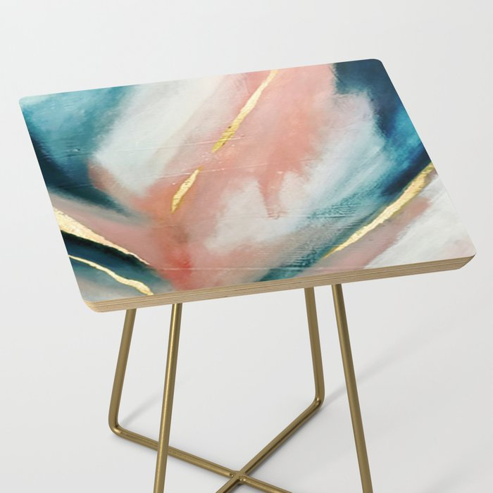 Celestial [3]: a minimal abstract mixed-media piece in Pink, Blue, and gold by Alyssa Hamilton Art Side Table