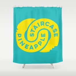 PineappleStaircase   Official Logocolor 2015 in Turquoise/Yellow Shower Curtain