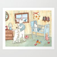 nursery Art Prints featuring Nursery by Bluedogrose