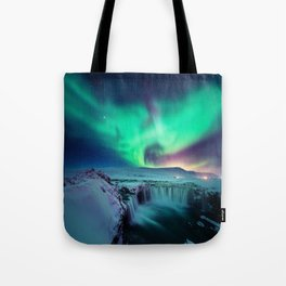 Aurora Borealis Over A Waterfall Tote Bag