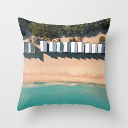 Brighton Beach Bathing Boxes Melbourne From Above Throw Pillow