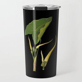 Arum Esculentum Mary Delany Delicate Paper Flower Collage Black Background Floral Botanical Travel Mug