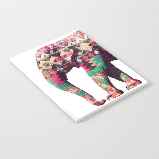 Whimsical Aztec Elephant Pink Turquoise Geometric Notebook