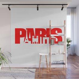 Paris Skyline Red Wall Mural