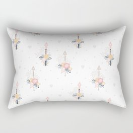Bohemian pastel pink ivory blue hand painted arrows floral Rectangular Pillow