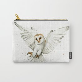 Barn Owl Flying Watercolor | Wildlife Animals Carry-All Pouch