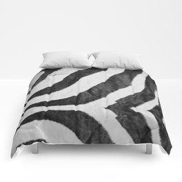 Zebra Animal Print Black White Gray Comforters