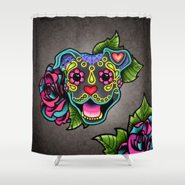 Smiling Pit Bull in Blue - Day of the Dead Pitbull Sugar Skull Shower Curtain