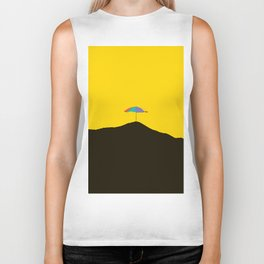 Colorful Umbrella On A Black Mountain In A Yellow Background - #society6 #buyart Biker Tank