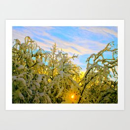 Sun Rays and Snow in Sweden Art Print