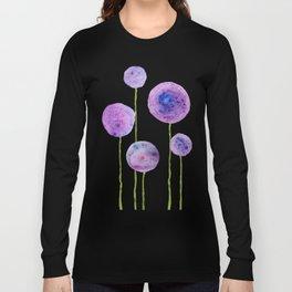abstract purple onion flowers Long Sleeve T-shirt