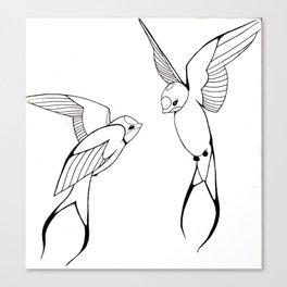 Lovebirds-Swallows Canvas Print