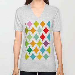 colorful diamonds on white Unisex V-Neck
