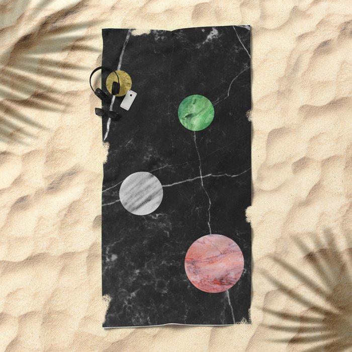 Black Marble with Polka Dots Beach Towel