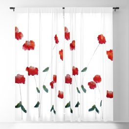 Red flowers in the snow Blackout Curtain