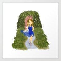 Mia Blue Dress Art Print
