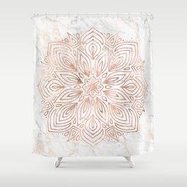 Mandala Rose Gold Quartz on Marble Shower Curtain