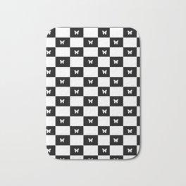 Butterfly Checkerboard Bath Mat