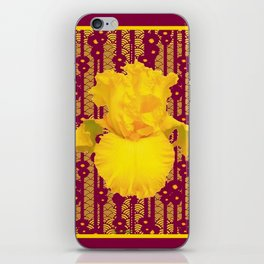 Burgundy Color Yellow Iris Deco Pattern Art iPhone Skin