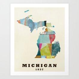 Michigan  state map modern Art Print