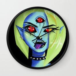 Blue Rocker girl monster Wall Clock