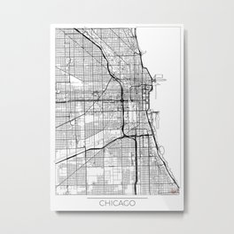 Chicago Map White Metal Print