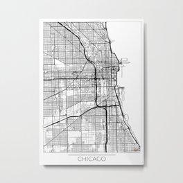 Chicago Map White Metal Print