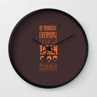 oscar wilde Wall Clocks featuring Lab No. 4 - Oscar Wilde Motivational quote poster by Lab No. 4