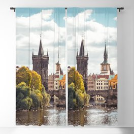 Historic Charles Bridge Vltava River Prague Amazing Cityscape Czech Republic Europe Ultra HD Blackout Curtain