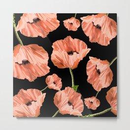 Beautiful Poppy Flowers Black Background #decor #society6 #buyart Metal Print