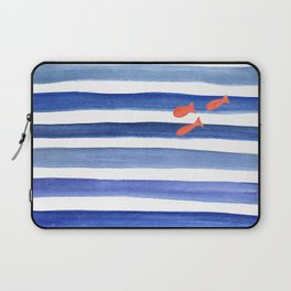Blue stripes with fish minimal art Laptop Sleeve