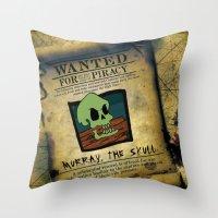 monkey island Throw Pillows featuring Monkey Island - WANTED! Murray, the Skull by Sberla