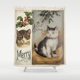 Merry Catmas vintage cat xmas illustration Shower Curtain