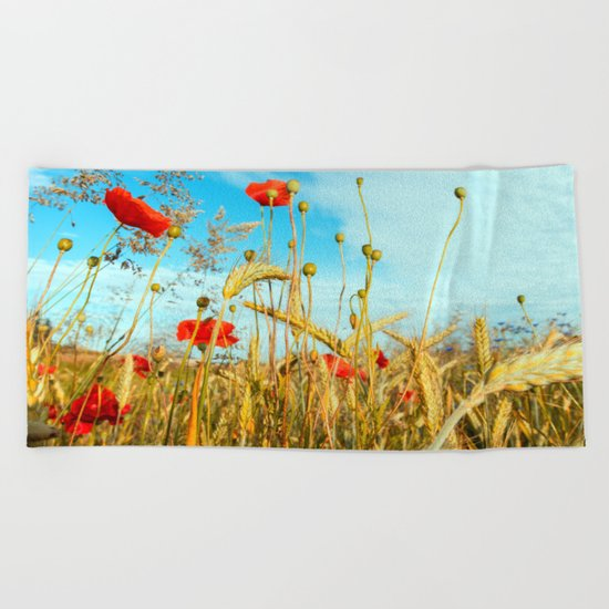 Lying in the cornfield, let your soul Beach Towel