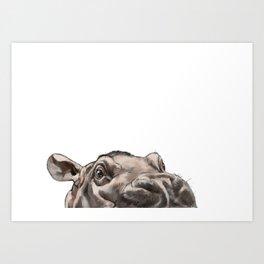 Peeking Baby Hippo Art Print