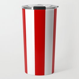 Rosso corsa red - solid color - white vertical lines pattern Travel Mug