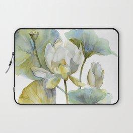 Lotus Plant and Fish Zen Design Watercolor Muted Pallet Botanical Art Laptop Sleeve