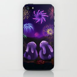 Chubby bunnies watch fireworks iPhone Skin